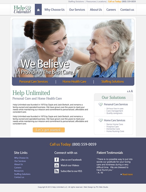 Help Unlimited Home Page Design